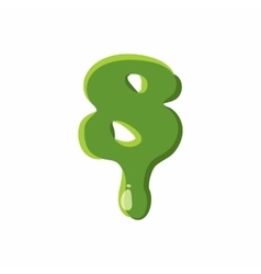 Numder 8 made of green slime vector image