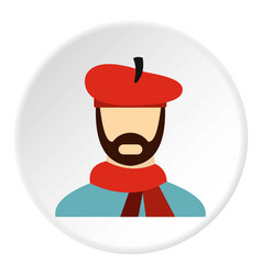 Painter in red hat icon flat style vector