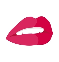 Parted lips painted with red lipstick white teeth vector