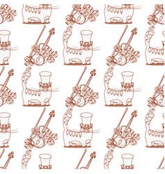 seamless pattern with a violin and a cat in a vector image