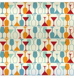Seamless wine cocktailglass vector image
