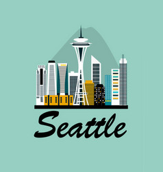 seattle city travel background vector image vector image