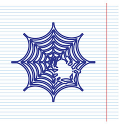 Spider on web navy line icon vector