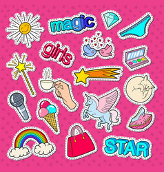teenage girl style stickers patches and badges vector image vector image