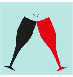 Two wine glasses chin-chin vector image vector image