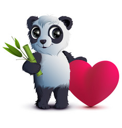 Valentines day bear panda holds stalk of bamboo vector