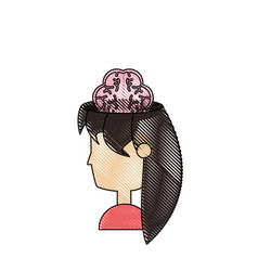 woman head and brain icon vector image