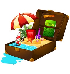 Beach and sand in suitcase vector