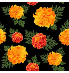 seamless pattern of marigolds dark vector image