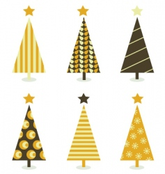 Retro christmas trees vector