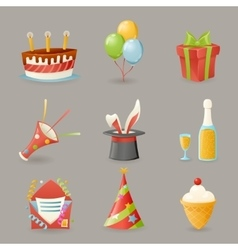 Birthday party celebrate icons and symbols set 3d vector