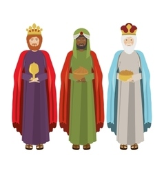 full body wise men with gifts vector image