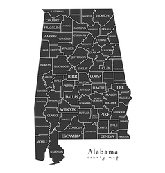 Alabama county map labels vector