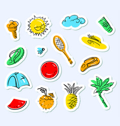 Summer stickers set doodle background with beach vector