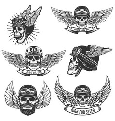 Set of skulls in winged motorcycle helmets design vector