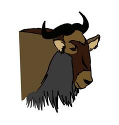 Head wildebeest african wildlife animal vector