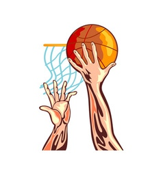 Basketball hands retro vector