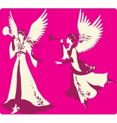 Beautiful angels silhouettes set vector image