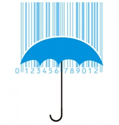 Stylized umbrella and barcode vector