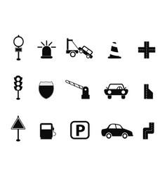 Black traffic icon set vector