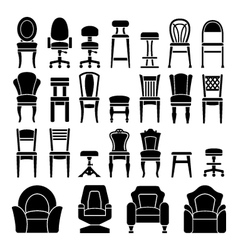 Set icons of chairs vector
