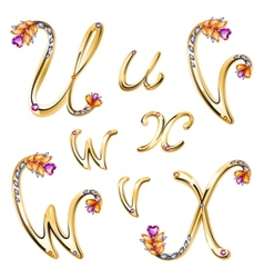 Bronze alphabet with colored gems letters uvwx vector