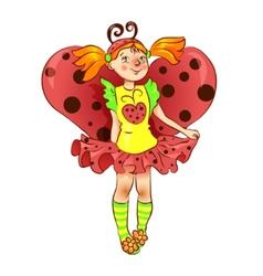 Girl dressed as ladybug for Christmas vector image