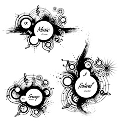 Set of musical the grunge blots vector