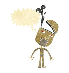 Cartoon robot with open head with speech bubble vector