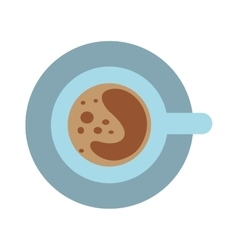 Coffee cup and saucer top view morning drink vector