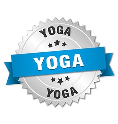 Yoga 3d silver badge with blue ribbon vector