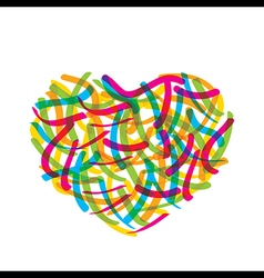 abstract valentine heart design by colorful brush vector image vector image