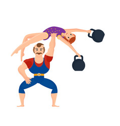 athlete showing exercises holding gymnast girl vector image