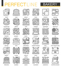 Bakery outline mini concept symbols pastry food vector