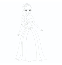 beautiful princess coloring book page vector image