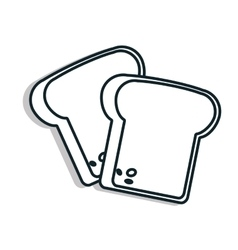 Bread foodstuff isolated line icon vector