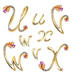 Bronze alphabet with colored gems letters UVWX vector image