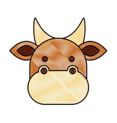 Christmas cow animal of manger cartoon vector