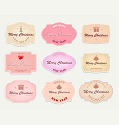 christmas label pastel shades set vector image