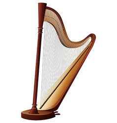 Classical harp with strings vector image