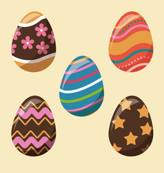 Collection easter egg decoration party vector