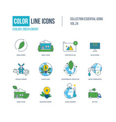 color icons ecology green energy smart house vector image vector image
