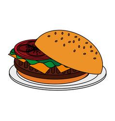 Color image cartoon hamburger in dish fast food vector