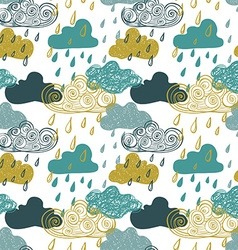 Colorful seamless pattern of rain clouds vector