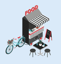 Concept of street food bicycle kiosk foodtruck vector