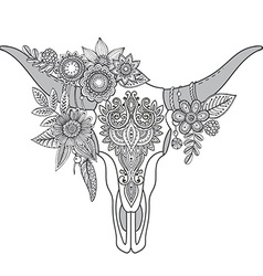 Decorative indian bull skull with ethnic ornament vector