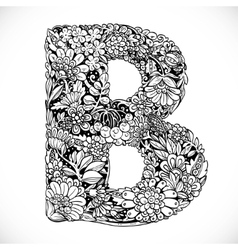 Doodles font from ornamental flowers - letter b vector