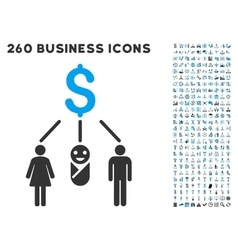 Family budget icon with flat set vector