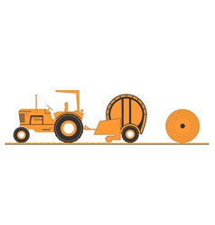 Farm tractor and round baler vector image vector image