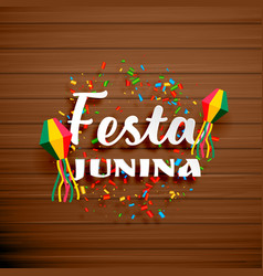 Festa junina celebration background with confetti vector